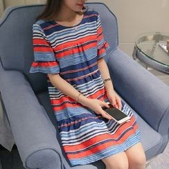 Q.C.T - Striped Short-Sleeve Dress