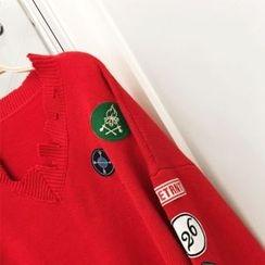 DISCOSALON - Appliqué Distressed Knit Top