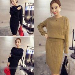 QZ Lady - Set: Ribbed Knit Top + Skirt