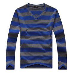 SENTA - Striped Long Sleeve V-Neck T-Shirt