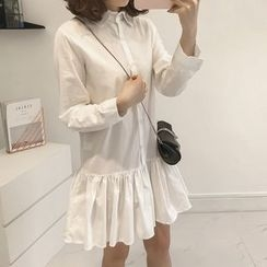 Little V - Long-Sleeve Ruffle Hem Shirt Dress