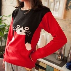 Wimi girls - Cat Print Sweater