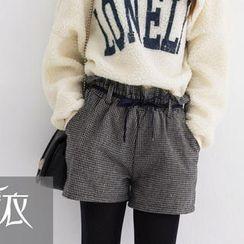 Tokyo Fashion - Paperbag Waist Houndstooth Shorts