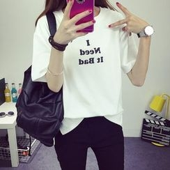 CASSY - Short-Sleeve Lettering T-Shirt