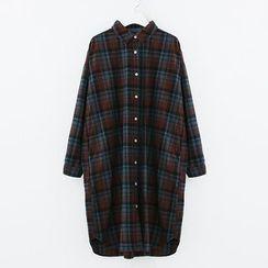 Meimei - Plaid Long-Sleeve Shirtdress