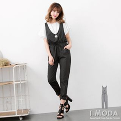 OrangeBear - U-Neck Stripe Sleeveless Jumpsuit