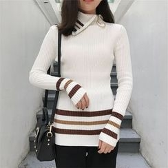Bloombloom - Mock Neck Striped Sweater
