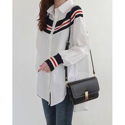 NIPONJJUYA - Contrast-Trim Long Shirt
