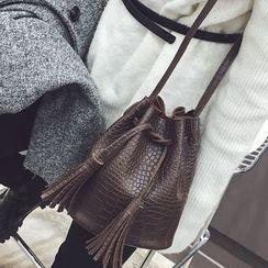 Rosanna Bags - Tasseled Croc-Embossed Faux Leather Bucket Bag