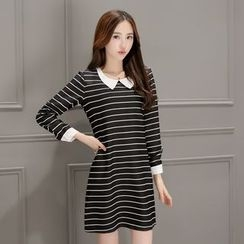 Ekim - Collared Striped Long Sleeve Dress
