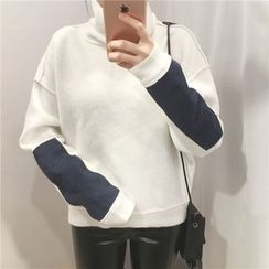 Bloombloom - Mock neck Color Block Sweatshirt