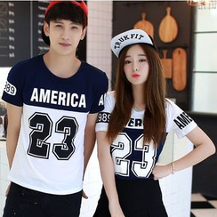 Azure - Couple Matching Lettering  T-Shirt