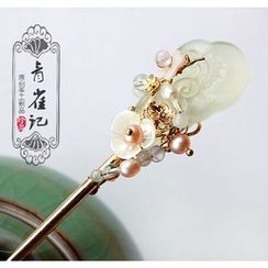 Green Finch - 岫玉珍珠步摇发钗