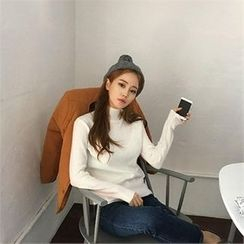 QNIGIRLS - Mock-Neck Plain Sweater