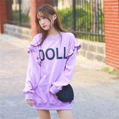 GOGO Girl - Letter Frill Trim Sweatshirt