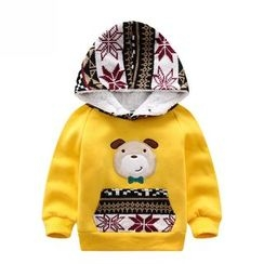 Endymion - Kids Dog Applique Knit Panel Hoodie