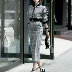 Aurora - 格纹夹克半裙套装