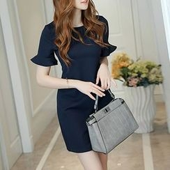 Q.C.T - Ruffle Short-Sleeve Sheath Dress