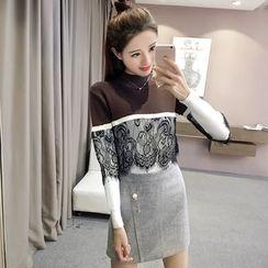 RUI - Color Block Lace Panel Sweater