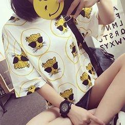 Fashion Street - Panther Print Elbow Sleeve T-Shirt