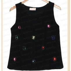 59 Seconds - Jeweled Chiffon Tank Top