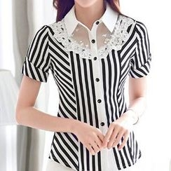 Caroe - Short-Sleeve Striped Lace Panel Blouse