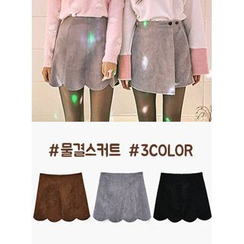 icecream12 - Scallop-Hem Faux-Suede Mini Skirt