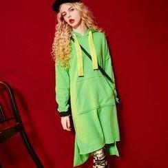 ELF SACK - Long-Sleeve Color-Block Hooded Dress