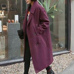 Seoul Fashion - Double-Breasted Long Coat