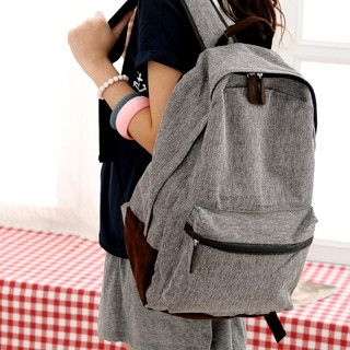 59 Seconds - Faux Leather Trim Backpack