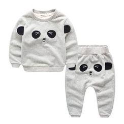 Kido - 童装套装: 卡通卫衣 + 运动裤