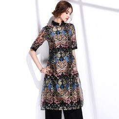 BUDELLY - 套装: 印花连衣裙 + 运动上衣 + 宽腿裤