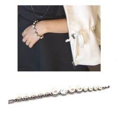 musé - Pearly Gunmetal-Tone with Imitation Glass Crystal Bracelet