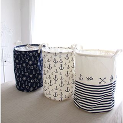 Timbera - Anchor Print Canvas Laundry Basket