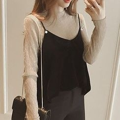Ashlee - Set : Velvet Long-Sleeve Top + Spaghetti Strap Top