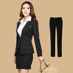 HPZ - Set: Blazer + Ruffle Blouse + Dress Pants + Pencil Skirt