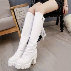 MISSEY - Chunky Heel Platform Tall Boots