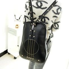 Miss Sweety - Faux-Leather Violin Pattern Studded Backpack