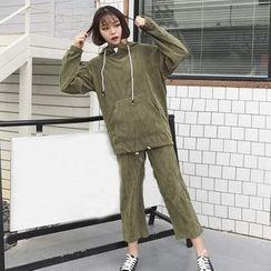HL哈嘍妹妹 - 套裝: 燈芯絨連帽衫 + 寬腿褲