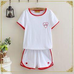 gabrielle - Set: Embroidered Short-Sleeve T-Shirt + Sweat Shorts