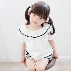 Cuckoo - Kids Set: Frill Trim Short Sleeve Top + Striped Shorts