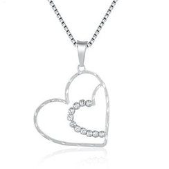 MaBelle - 14K/585 White Gold Heart in Heart with Beads Diamond Cut Necklace
