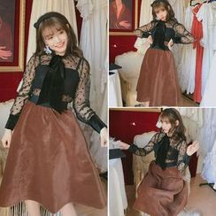 Tiny Times - Set : Bow Lace Top + Strap Top + Skirt