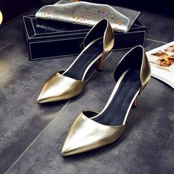 Colorful Shoes - Metallic Pointy Pumps