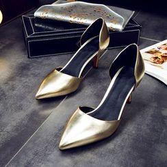 缤纷女鞋 - 闪亮尖头高跟鞋
