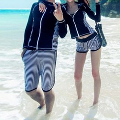 DJ Design - Set: Striped Couple Matching Zip-Up Rashguard + Swim Shorts