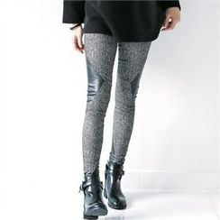 GLAM12 - Faux-Leather Panel Trim Leggings