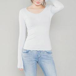 chuu - Long-Sleeve Ribbed Top