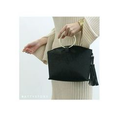 ATTYSTORY - Hoop-Handle Tasseled Hand Bag