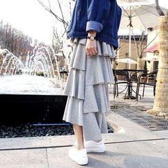 DISCOSALON - Dip-Back Ruffle-Tiered Long Skirt